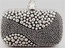 Alexander Mcqueen Black Studded Leather Crystal Skull Clasp Clutch Box Bag $2540