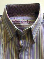 Robert Graham Men's Medium Button Down Dress Shirt Flip Cuffs Striped