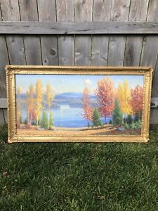 Vintage Original Gustave Adolph Wiegand Oil Painting - Mountain Lake Landscape