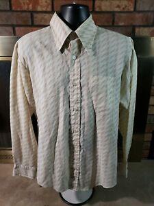 Vintage 1960's 1970's Mohawk Loop Collar Rockability Button Up Shirt Men's Large