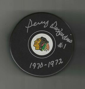 Gerry Desjardins Signed Chicago Blackhawks Puck