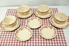 LOT Jac-Tan Jackson China USA Vitrified 4 sets Cups & Saucers 3 fruit bowls Red