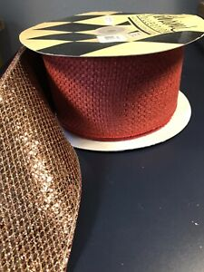 Katherine's Collection Rust Burlap Copper Metallic 10 Yds Fall Autumn Ribbon NEW