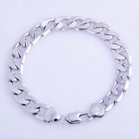 "Mens 14K White Gold Plated silver Cuban Link bracelet chain Smooth 8"" 10mm Thick"