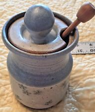 Honey Pot Jam Jelly Jar Hand Crafted Blue Gray Green Flowers Artist Signed