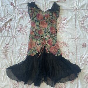 Vintage 1930s Floral Print Silk Chiffon Dress Rhinestone Buckle Ruffle Collar