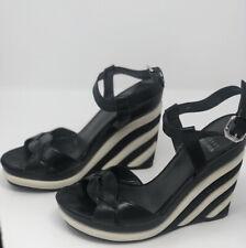 Stuart Weitzman Black White Open Toe High Heel Wedge Sandal Size 6M