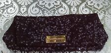 Victoria's Secret Black Sequins Fold-Over Clutch Evening Purse handbag