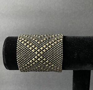 VTG. Large antique gold tone liquid metal mesh wrap statement bracelet/Unisex