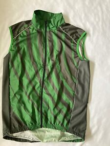 Skins Mens Cycling Windproof Gilet Green/Black With Bottle Pockets-BNWT