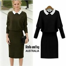 black knit winter work office dress size 10 au womens new