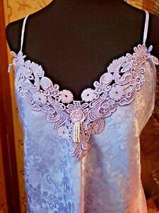 "Vtg ADONNA Lavender SATIN Nightie Chemise Nightgown Appliques Faux Pearls 36"""