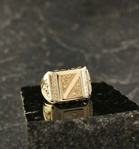 MEN'S ENGAGEMENT WEDDING FABULOUS RING 14K YELLOW GOLD  PLATED 0.82 CT DIAMOND