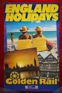 ENGLAND HOLIDAYS BR POSTER GOLDEN RAIL BEACH SCENE & LONDON DR ORIGINAL