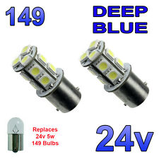 2 x Blue 24v LED BA15s 149 R5W 13 SMD Number Plate Interior Bulbs HGV Truck