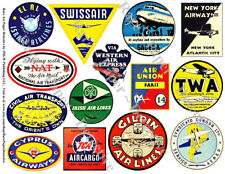 TRAVEL STICKERS, Airline Suitcase Decal, 1 Sheet, 14 Luggage Label REPRODUCTIONS