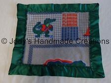 HANDMADE BABY FLEECE SECURITY BLANKET - FLORIDA GATORS / GREEN EDGE 14 X 15