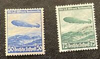 3rd Reich Germany 1936 Air Zeppelin Set of Stamps