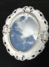Espejo De Pared Antiguo Ovalado Oro Blanco Baño 51x37 Shabby Barroca C496 Espejos