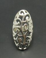 LONG STERLING SILVER FLORAL RING SOLID 925 NEW SIZE H - Z EMPRESS
