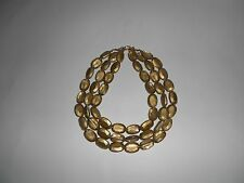 Three Strand Champagne, Oval Beaded, Choker, Necklace, Unbranded