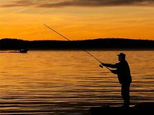 YELLOW SUNSET LAKE FISHERMAN SILHOUETTE PHOTO ART PRINT POSTER PICTURE BMP782A