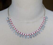 "Lovely ""ROAM"" Clear Plastic Rhinestone Necklace"
