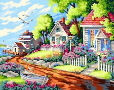 FD4177 DIY Paint By Number On Canvas Digital Oil Painting Kit Seaside Villa