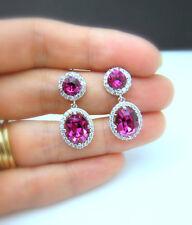 Women Chic Silver Plated Ruby Gems Ear Stud Hoop Dangle Earrings Bridal Jewelry