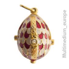 Emaille Anhänger Ei Faberge inspriert vergoldet Strass pendant egg Charms paste