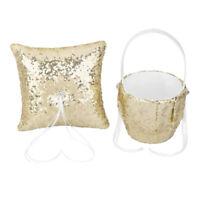 Fashion Gold Sequins Wedding Ceremony Set Flower Girl Basket Ring Pillow