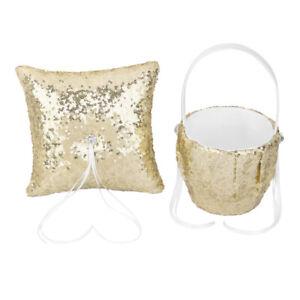 Fashion Gold Sequins Wedding Ceremony Set Flower Girl Basket   Pillow