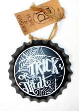 Pd Home and Garden Black White Metal Bottle Top Trick or Treat Decor Sign  4in