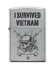 Zippo 207 I Survived Vietnam Helmet on Skull M16 Lighter