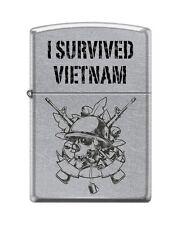 Zippo 207 I Survived Vietnam Helmet on Skull M16 Lighter