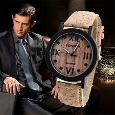 New men simulate wood watch Quartz male business sports Leather Wristwatch