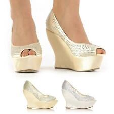 Mujer señoras Cuña Peep Toe Tacón Alto Zapatos De Boda Nupcial Fiesta Baile de Graduación Talla 3-8