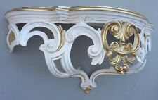 Shelf Wall Console White Gold-Ivory Baroque Mirror Table 50x20x24 Antique
