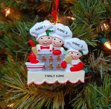 Baking Cookies Family of 3 Personalized Christmas Tree Ornaments
