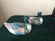Beautiful pair of Hand painted duck tureens, colorful fine china signed