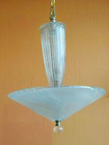 Vintage 40s art deco Glass Ceiling Light Lamp lite blue antique
