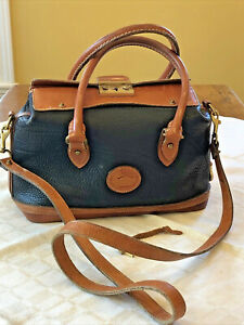 Vintage 90s Dooney & Bourke All Leather Doctor Hand Bag Satchel Purse with Lock