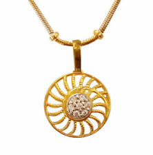 Solid 18 Kt Yellow Gold White Cubic Zirconia CZ Necklace Charm Round Pendant