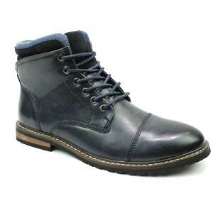 Mens Cap Toe Ankle Dress Derby Boots Lace Up Modern Denim Friendly Footwear AZAR