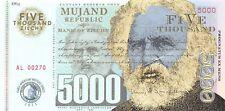 Mujand Republic Banknote 5000 Zilchy 2013 Unc Specimen, Private, Note