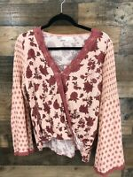 Coco + Jaimeson Women's Pink Floral Crossover Peasant Boho Blouse Size M