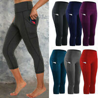 Women 3/4 Capri Yoga Sport Pants Pockets High Waist Leggings Gym Fitness Running
