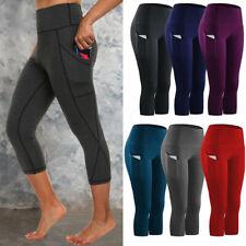Women 3/4 Capri Yoga Sport Pants Pockets High Waist Leggings Gym Fitness Running
