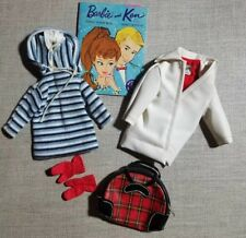 Winter Holiday Vintage Barbie #975 - Coat, Knit Pullover, Gloves & Plaid Bag