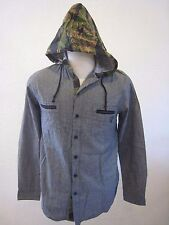 Famous Stars and Straps  Gray Long Sleeve Shirt with Camouflage Hood Size S